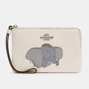 Disney X Coach Corner Zip Wristlet With Dumbo
